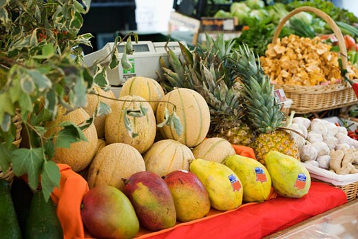 Market stall with fruit, vegetables, mushrooms and herbs : Stock Photo