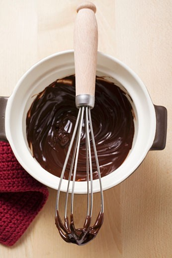 Stock Photo: 1532R-26351 Remains of chocolate sauce in pot and on whisk