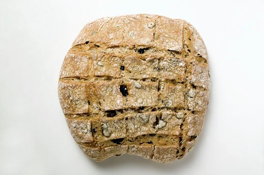 Crusty olive bread (overhead view) : Stock Photo
