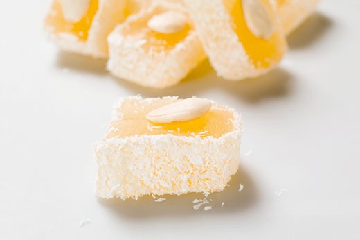 Turkish delight with almonds and coconut : Stock Photo