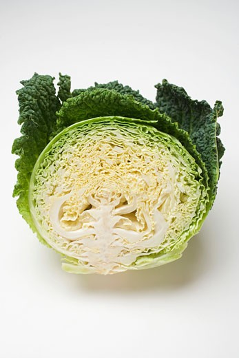 Stock Photo: 1532R-28959 Half a savoy cabbage
