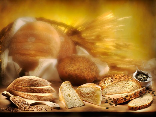 Stock Photo: 1532R-30681 Still life with various types of bread