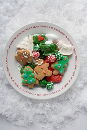 Christmas biscuits and sweets on plate : Stock Photo