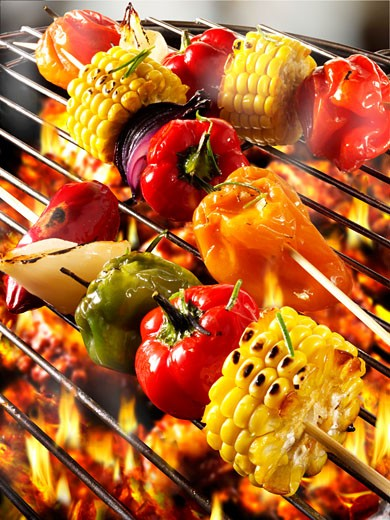 Stock Photo: 1532R-32802 Vegetable kebabs on barbecue