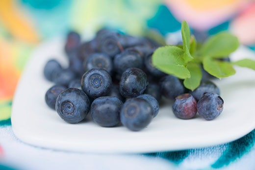 Blueberries with leaves on plate : Stock Photo
