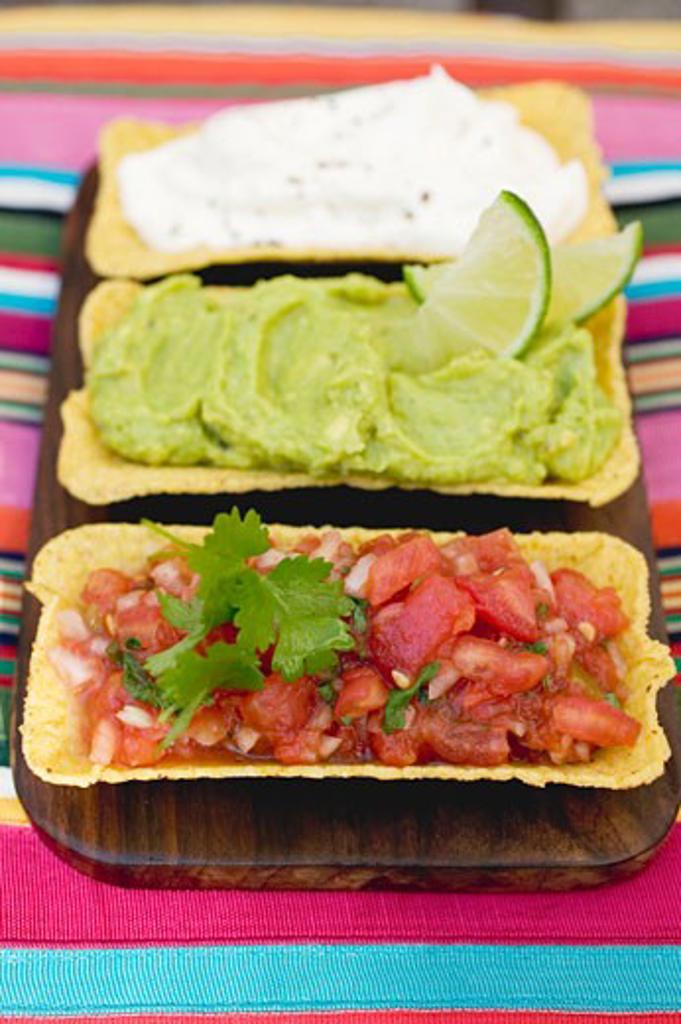 Three dips in taco shells (Mexico) : Stock Photo