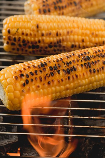 Corn on the cob on a barbecue : Stock Photo