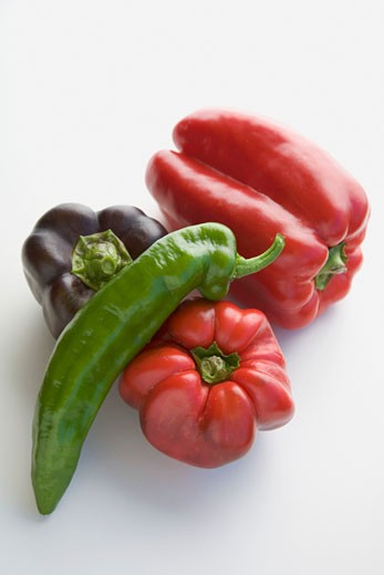 Peppers (red and purple) and chilli : Stock Photo