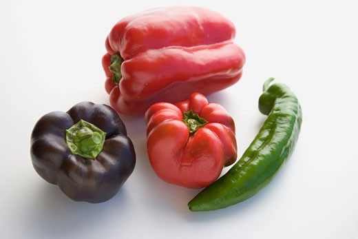Stock Photo: 1532R-34901 Peppers (red and purple) and chilli