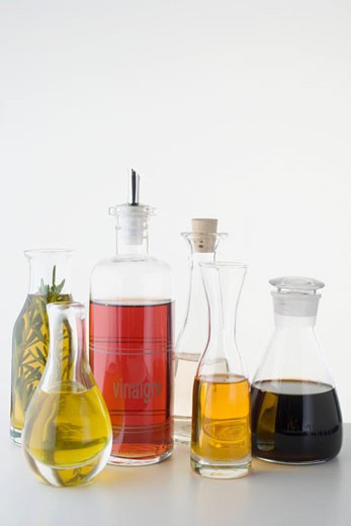 Stock Photo: 1532R-35037 Various types of oil and vinegar in bottles