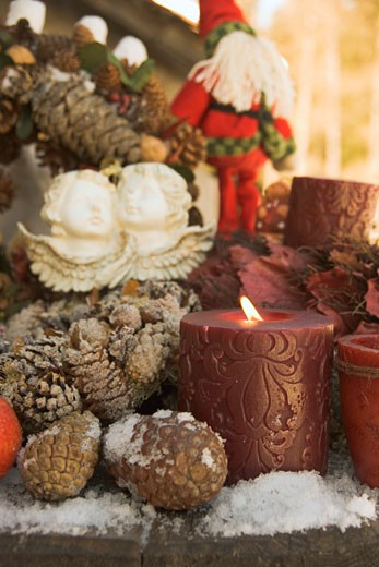 Christmas decorations on wooden table (detail) : Stock Photo