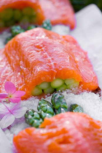Salmon stuffed with green asparagus : Stock Photo