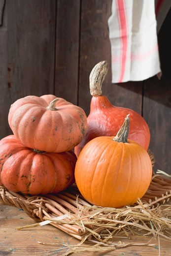 Stock Photo: 1532R-35709 Pumpkins & squashes on wicker tray in front of wooden wall