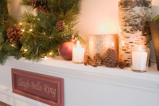 Mantelpiece decorated for Christmas (detail) : Stock Photo