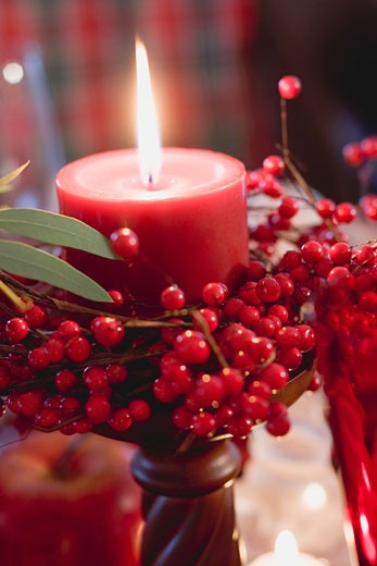 Stock Photo: 1532R-36579 Red candle with berries