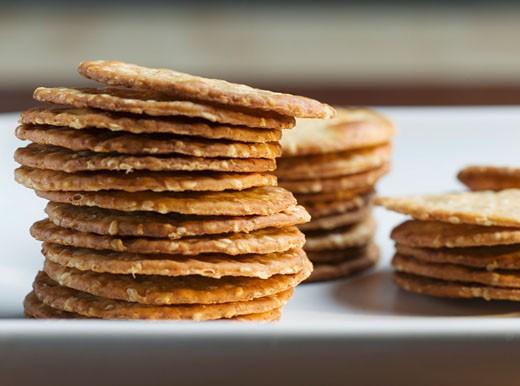 A Pile of Wheat Crackers : Stock Photo
