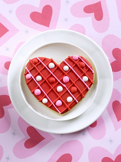 A Heart Shaped Cookie for Valentine's Day : Stock Photo