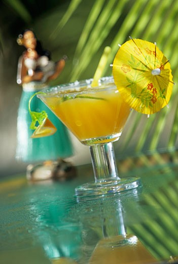 Stock Photo: 1532R-37888 Tropical Rum Cocktail in a Glass with Cocktail Umbrella