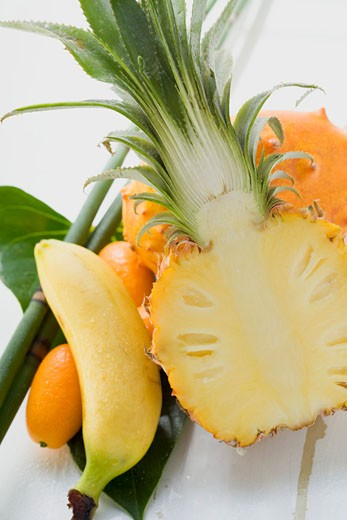 Stock Photo: 1532R-39868 Exotic fruit still life with pineapple