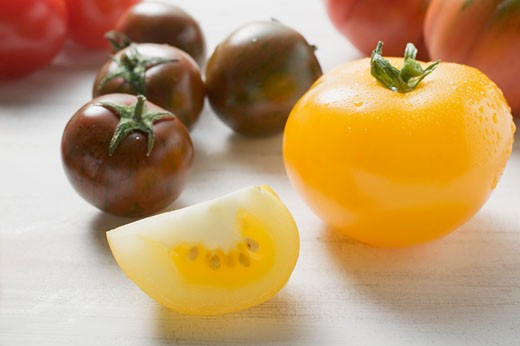 Various types of tomatoes : Stock Photo