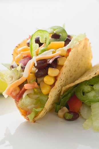 Tacos filled with sweetcorn and beans : Stock Photo
