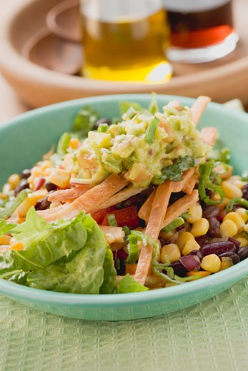 Stock Photo: 1532R-40809 Lettuce, beans, sweetcorn, tortilla strips and guacamole