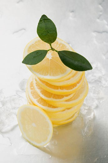 Lemon slices, stacked, surrounded by ice cubes : Stock Photo