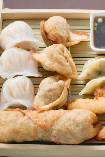 Stock Photo: 1532R-41524 Dim sum and spring rolls with soy sauce (Asia)
