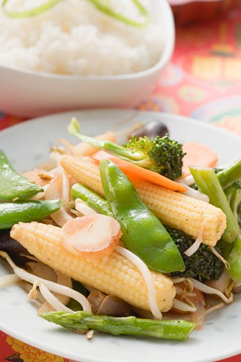 Stir-fried vegetables with rice (Asia) : Stock Photo