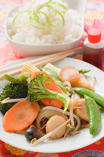Stir-fried vegetables with rice and soy sauce (Asia) : Stock Photo