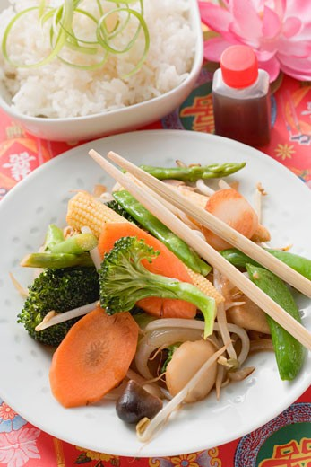Stock Photo: 1532R-41541 Stir-fried vegetables with rice and soy sauce (Asia)