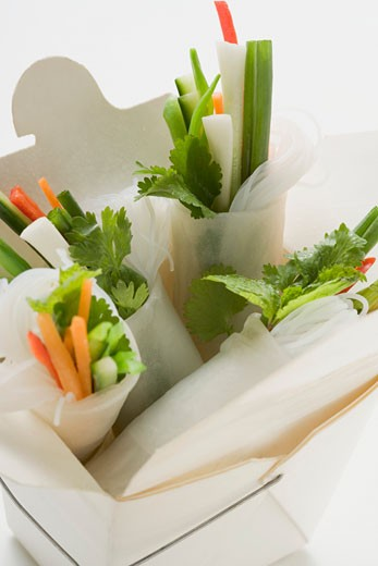 Rice paper rolls with vegetable filling in take-away container : Stock Photo