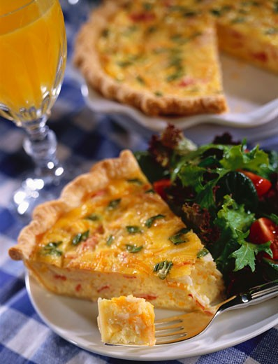 Slice of Quiche with Side Salad; Piece on Fork : Stock Photo