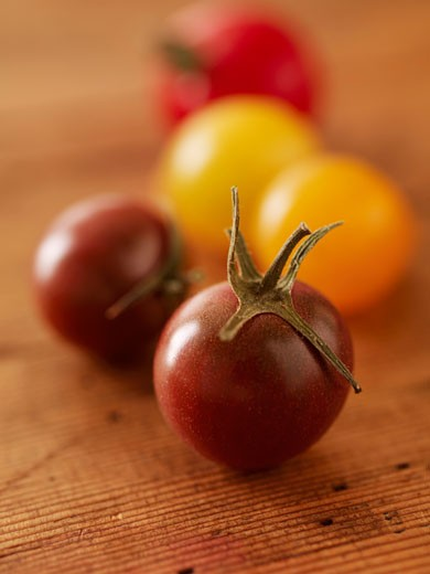 Cherry Tomatoes on Wood : Stock Photo