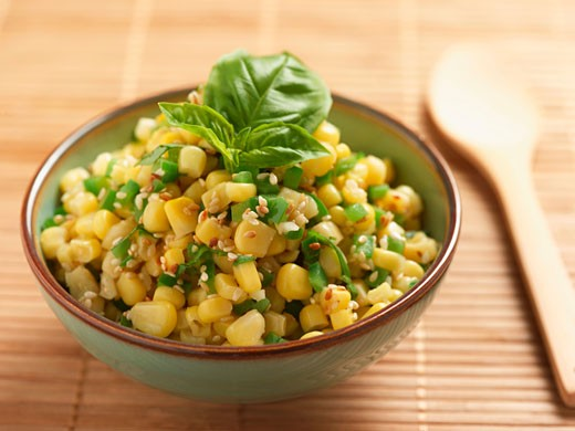 Stock Photo: 1532R-42445 Corn Salad with Peppers, Sesame Seeds and Basil