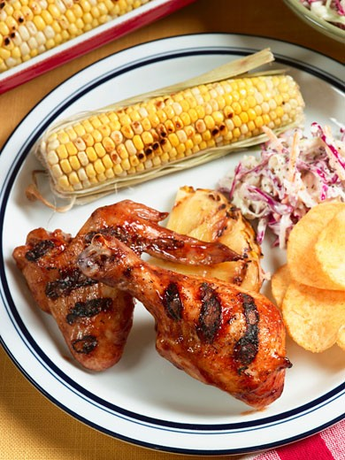 Lime Glazed Grilled Chicken with Corn and Cole Slaw : Stock Photo