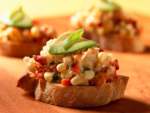 Lobster and Corn Bruschetta with Avocado : Stock Photo