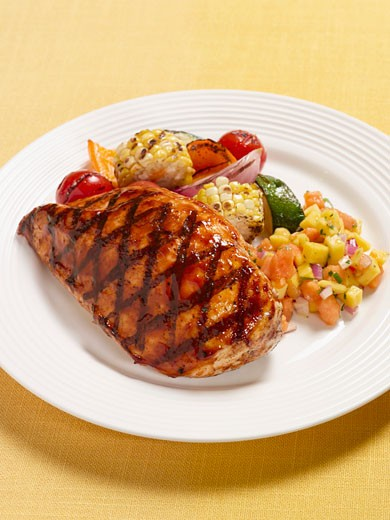 Grilled Chicken Breast with Mango Papaya Salsa and Vegetables : Stock Photo