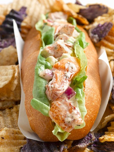 Lobster Roll with Potato Chips, Close Up : Stock Photo