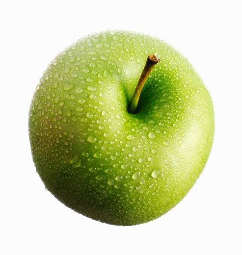 A green apple (Granny Smith) with drops of water : Stock Photo