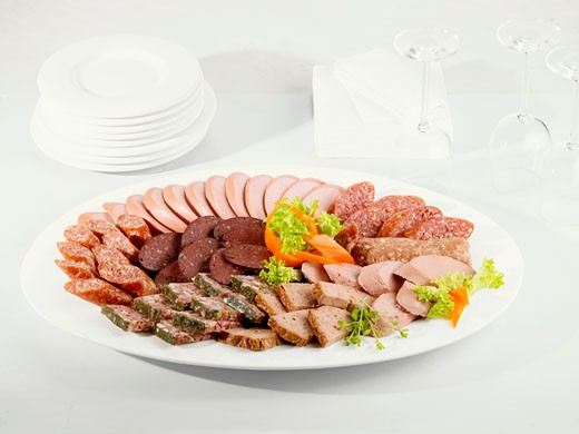 Stock Photo: 1532R-44232 Cold cut platter with various types of sausage