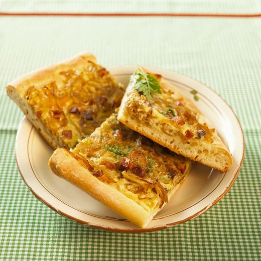 Stock Photo: 1532R-44869 Three pieces of onion tart on a plate