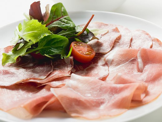Sausage platter with raw ham and salami from Italy : Stock Photo
