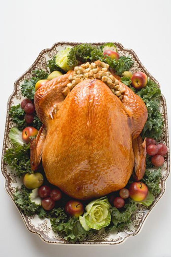 Stuffed turkey on platter (overhead view) : Stock Photo