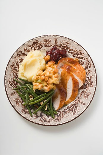 Turkey breast with green beans, bread stuffing & mashed potato : Stock Photo