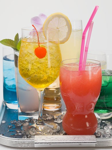Assorted cocktails on tray : Stock Photo