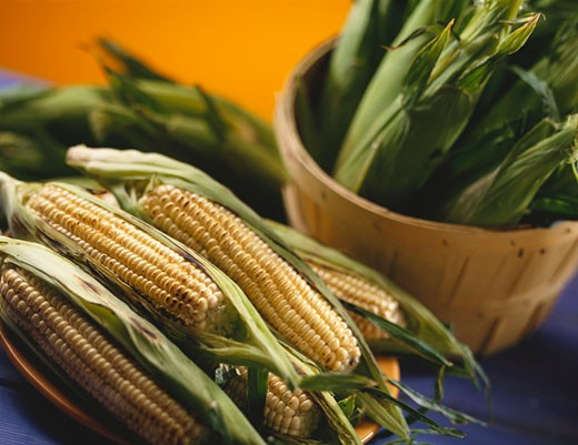 Grilled corn on the cob with husks : Stock Photo