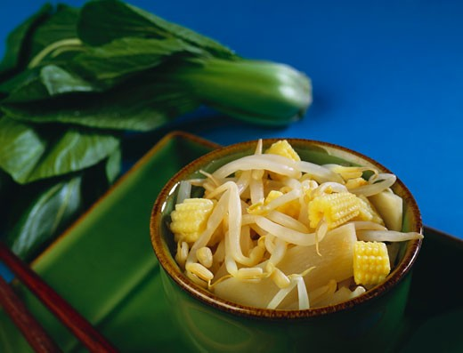 Small Bowl of Asian Bean Sprout, Bamboo and Corn Salad : Stock Photo