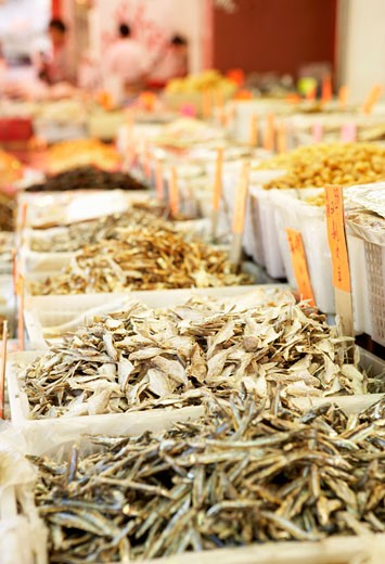 Stock Photo: 1532R-49493 Dried fish etc. on market stalls (Chinatown in Vancouver)