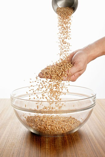 Stock Photo: 1532R-49574 Someone pouring wheat over their hand into a glass bowl